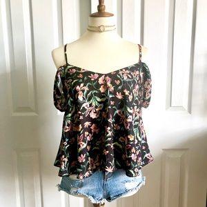 Topshop cold shoulder floral blouse